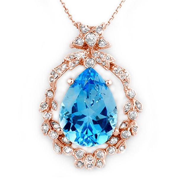 13.84 ctw Blue Topaz & Diamond Necklace 14k Rose Gold - REF-109F6M