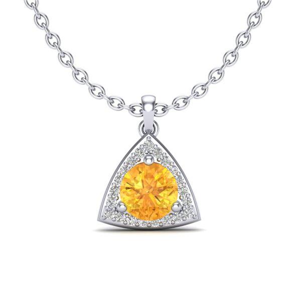 1.50 ctw Citrine & Micro Pave VS/SI Diamond Necklace 18k White Gold - REF-25G9W