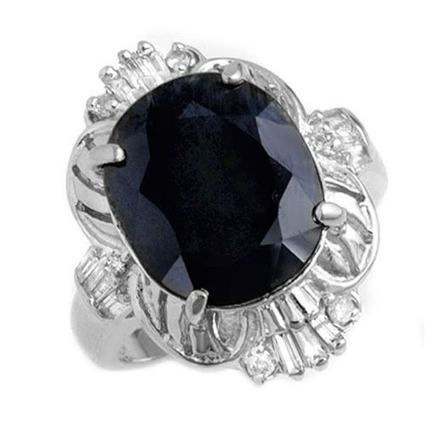 8.07 ctw Blue Sapphire & Diamond Ring 14k White Gold - REF-81H8R