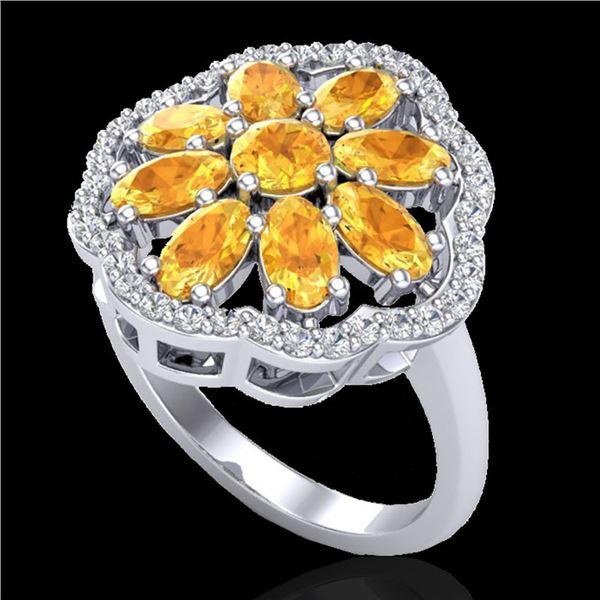 3 ctw Citrine & VS/SI Diamond Cluster Designer Ring 10k White Gold - REF-49A3N