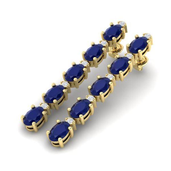 12.36 ctw Sapphire & VS/SI Certified Diamond Tennis Earrings 10k Yellow Gold - REF-53M8G