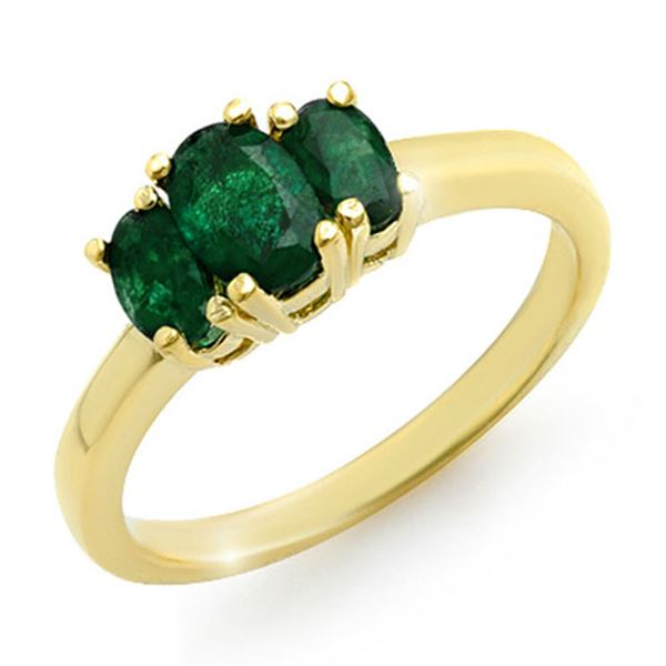 1.0 ctw Emerald Ring 10k Yellow Gold - REF-14A3N