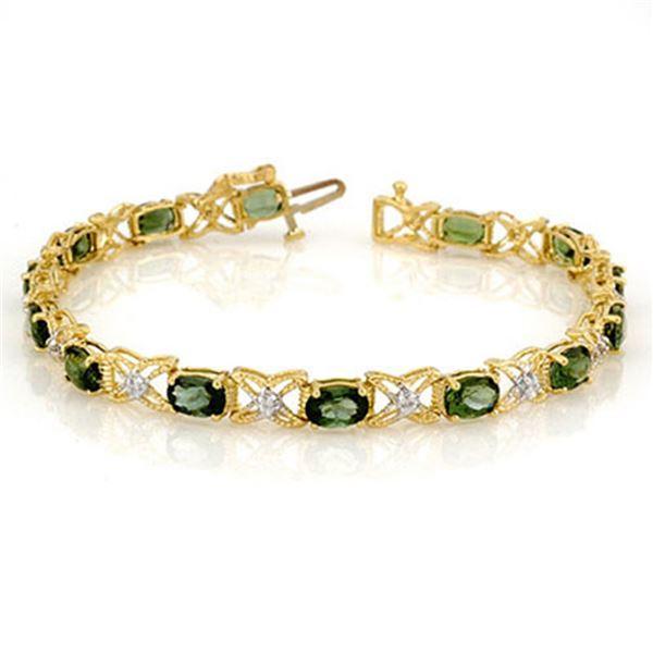 8.15 ctw Green Tourmaline & Diamond Bracelet 14k Yellow Gold - REF-127F3M