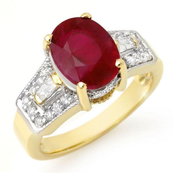 5.55 ctw Ruby & Diamond Ring 10k Yellow Gold - REF-94Y9X