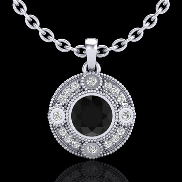 1.01 ctw Fancy Black Diamond Art Deco Stud Necklace 18k White Gold - REF-53W5H