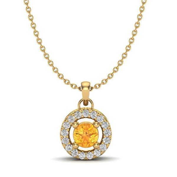 0.38 ctw Citrine & Micro Pave VS/SI Diamond Necklace 18k Yellow Gold - REF-21K3Y