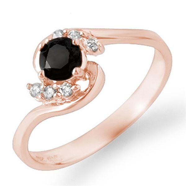0.50 ctw VS Certified Black & White Diamond Ring 14k Rose Gold - REF-21K4Y
