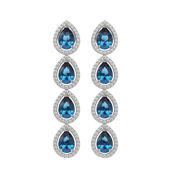 7.81 ctw London Topaz & Diamond Micro Pave Halo Earrings 10k White Gold - REF-152Y8X