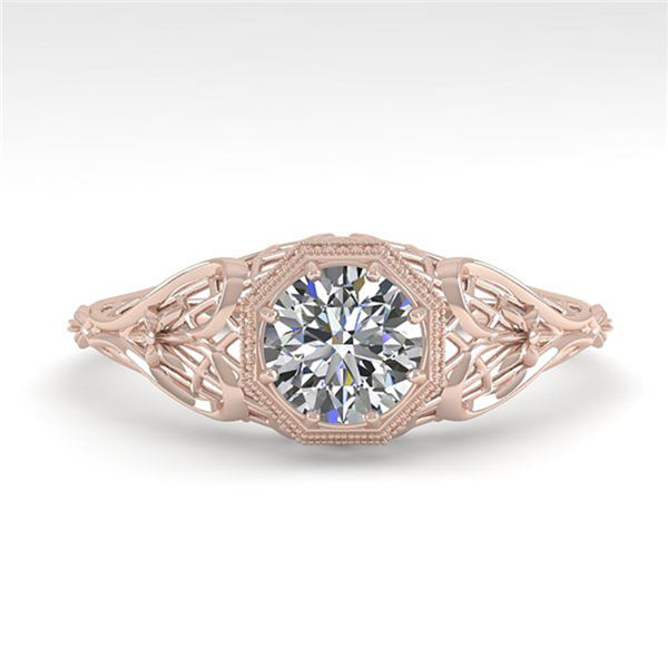 0.50 ctw VS/SI Diamond Engagment Ring Art Deco 18k Rose Gold - REF-104N8F