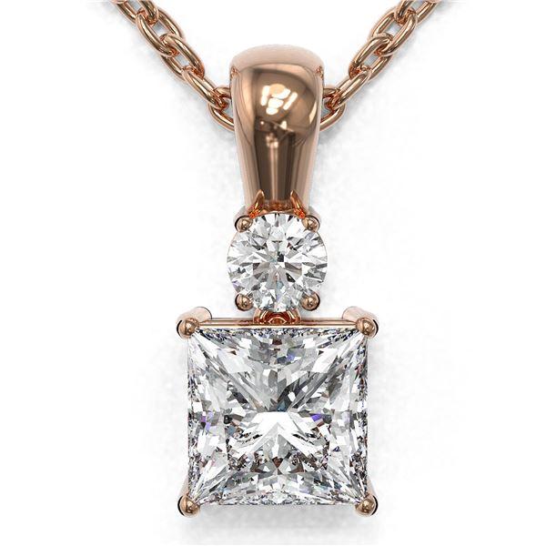 0.6 ctw Princess Cut Diamond Designer Necklace 18K Rose Gold - REF-89F6M