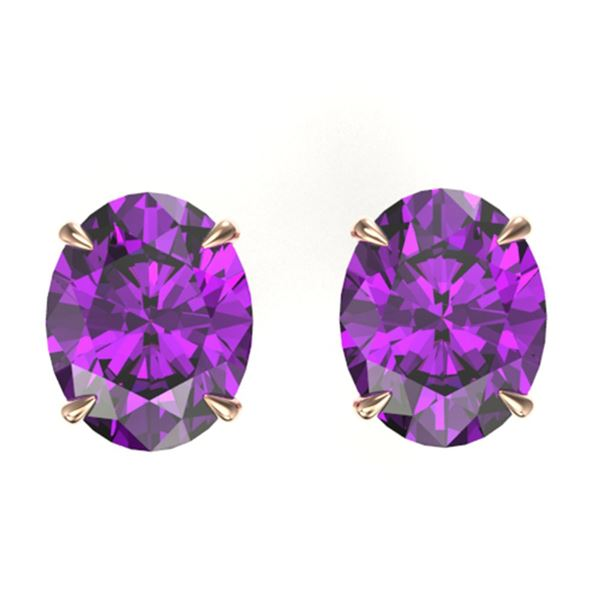 5 ctw Amethyst Designer Solitaire Stud Earrings 14k Rose Gold - REF-19A4N