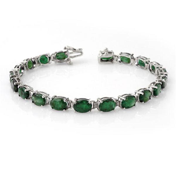 16.25 ctw Emerald Bracelet 10k White Gold - REF-94Y5X