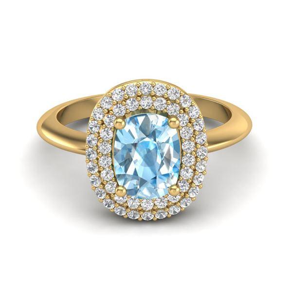 2.50 ctw Sky Blue Topaz With Micro VS/SI Diamond Ring 14k Yellow Gold - REF-52Y8X