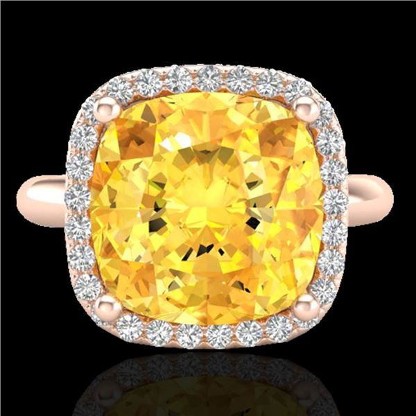 6 ctw Citrine & Micro Pave Halo VS/SI Diamond Ring 14k Rose Gold - REF-36H6R
