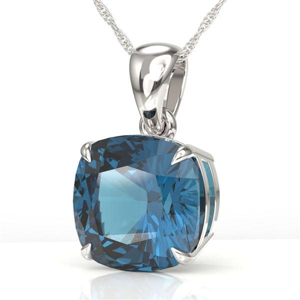 6 Cushion London Blue Topaz Designer Necklace 18k White Gold - REF-30H2R