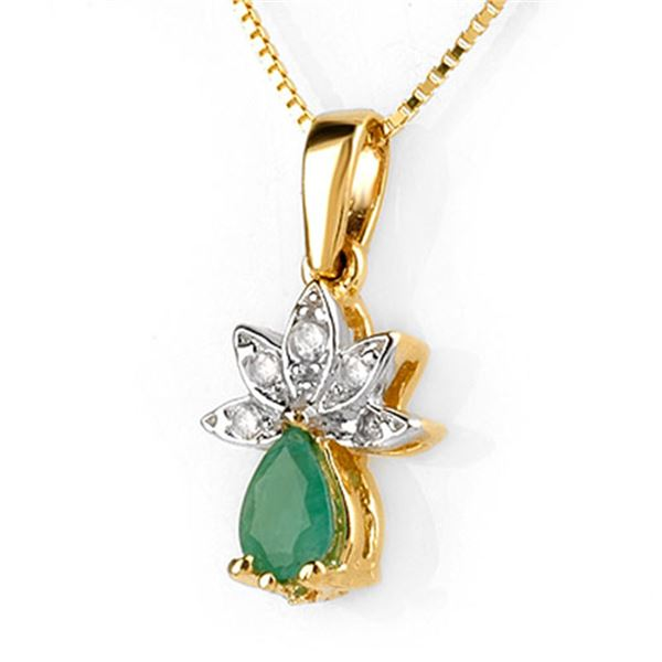 0.50 ctw Emerald & Diamond Necklace 10k Yellow Gold - REF-14H2R