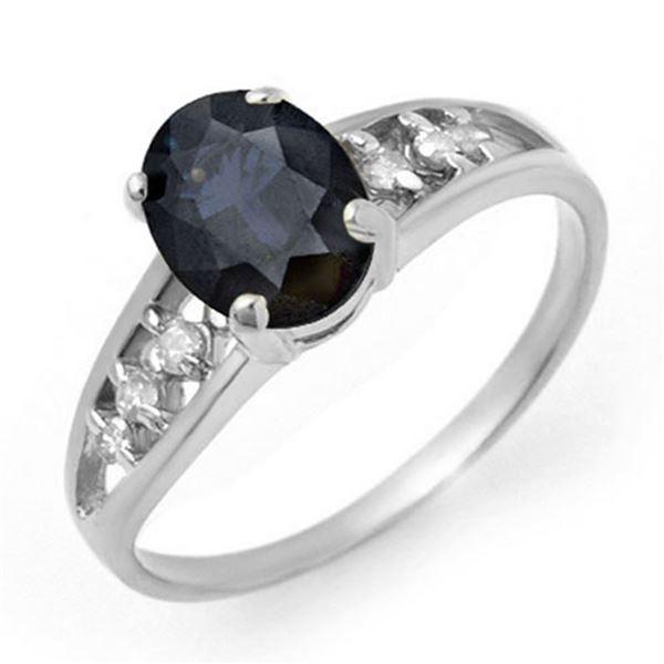 1.60 ctw Blue Sapphire & Diamond Ring 14k White Gold - REF-19W3H