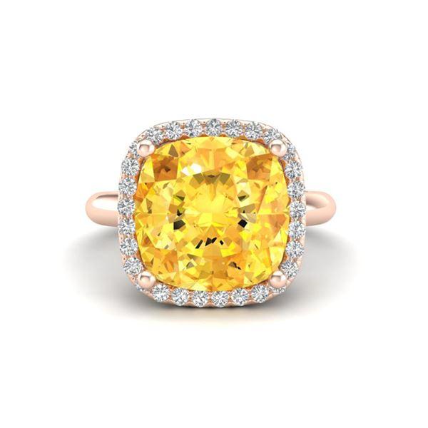 6 ctw Citrine & Micro Pave Halo VS/SI Diamond Ring 14k Rose Gold - REF-36G6W