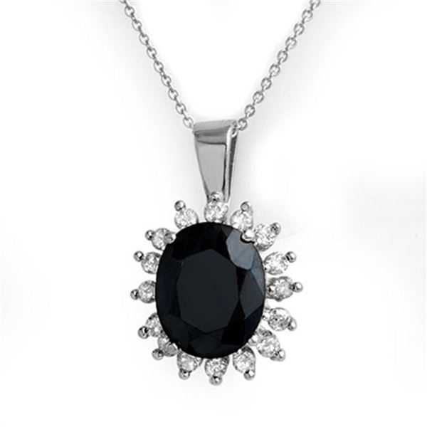 5.20 ctw Blue Sapphire & Diamond Pendant 14k White Gold - REF-87F3M