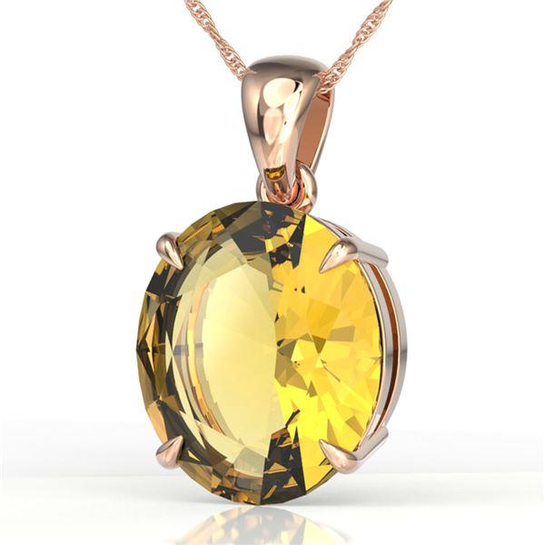 9 ctw Citrine Designer Solitaire Necklace 14k Rose Gold - REF-28X6A