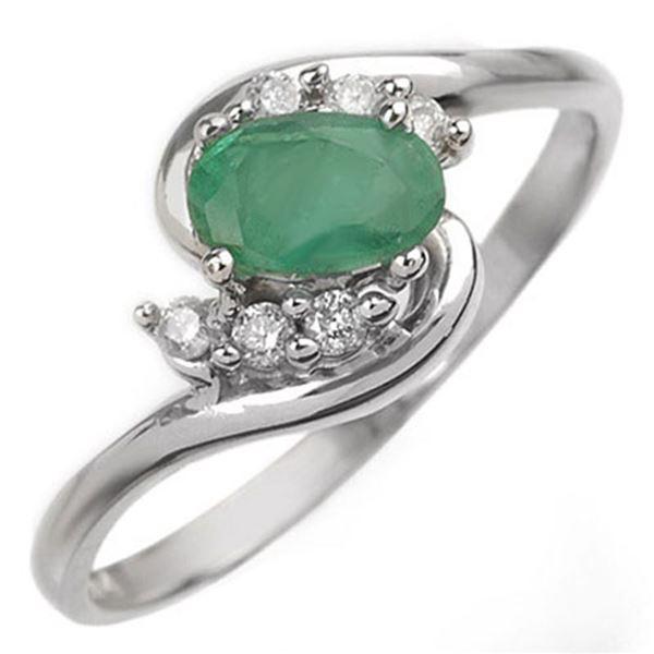0.60 ctw Emerald & Diamond Ring 18k White Gold - REF-23M9G