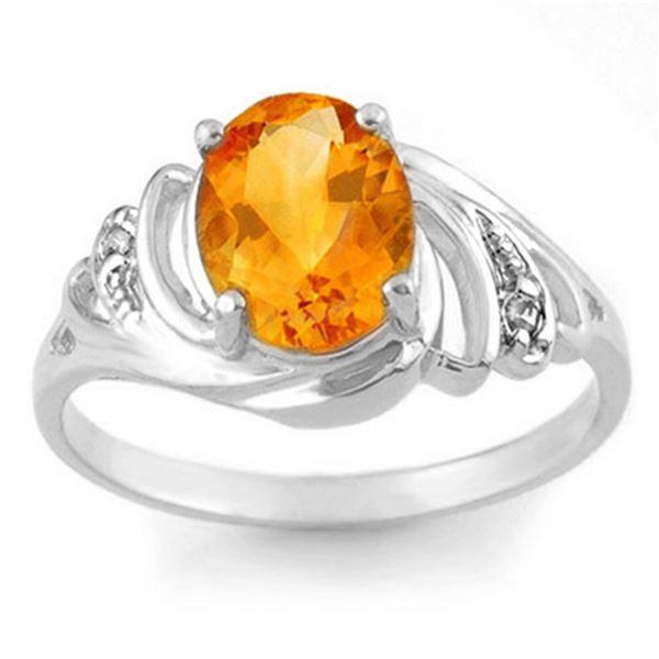 2.04 ctw Citrine & Diamond Ring 18k White Gold - REF-24H4R