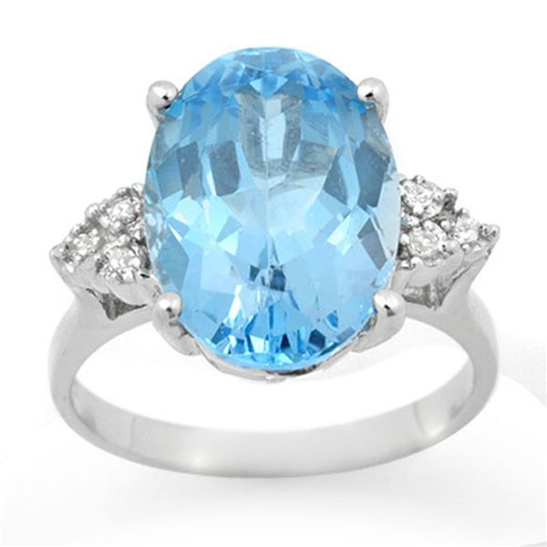 6.20 ctw Blue Topaz & Diamond Ring 18k White Gold - REF-40A9N