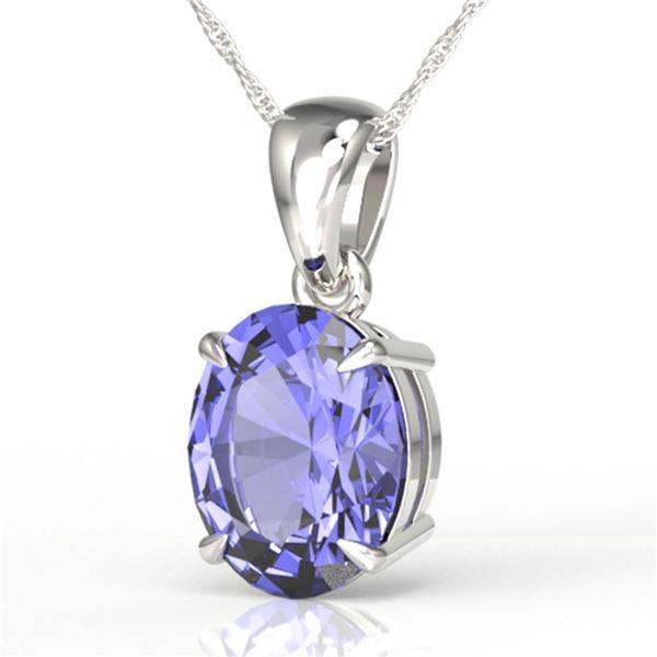 3.50 ctw Tanzanite Designer Necklace 18k White Gold - REF-43H2R