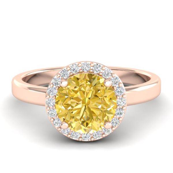2 ctw Citrine & Halo VS/SI Diamond Micro Pave Ring 14k Rose Gold - REF-30H2R