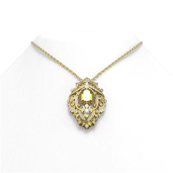 6.05 ctw Canary Citrine & Diamond Necklace 18K Yellow Gold - REF-213F8M
