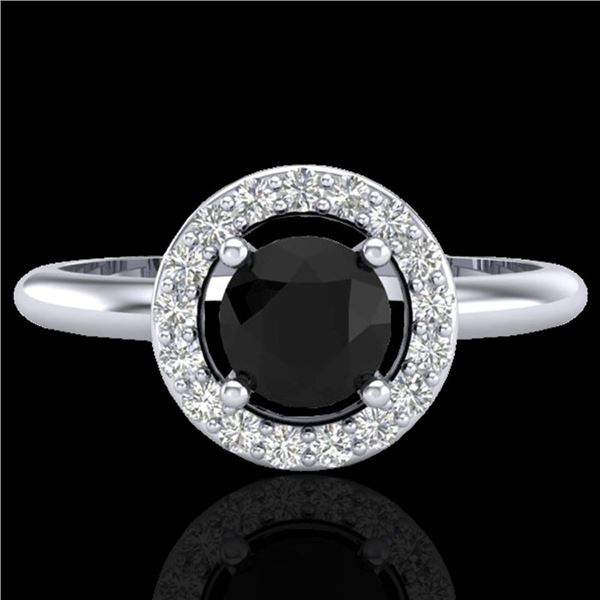 0.75 ctw Micro Pave Halo VS/SI Diamond Certified Ring 18k White Gold - REF-42A2N