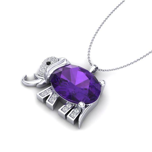 8 ctw Amethyst & Micro Pave Elephant VS/SI Diamond Necklace 10k White Gold - REF-33N3F