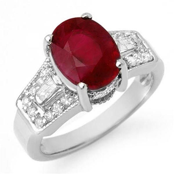 5.55 ctw Ruby & Diamond Ring 14k White Gold - REF-105W5H