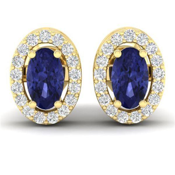 0.70 ctw Tanzanite & Micro Pave VS/SI Diamond Earrings 18k Yellow Gold - REF-25W9H