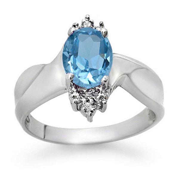 1.54 ctw Blue Topaz & Diamond Ring 18k White Gold - REF-28F6M