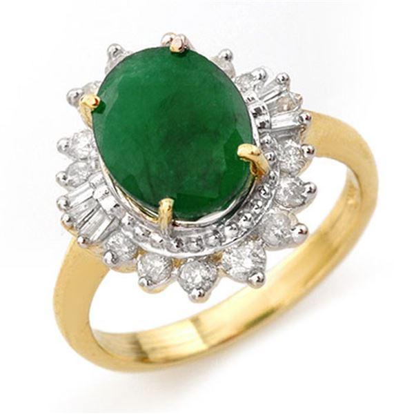 4.85 ctw Emerald & Diamond Ring 14k Yellow Gold - REF-100F2M