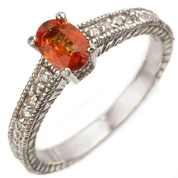 0.81 ctw Orange Sapphire & Diamond Ring 10k White Gold - REF-25M9G