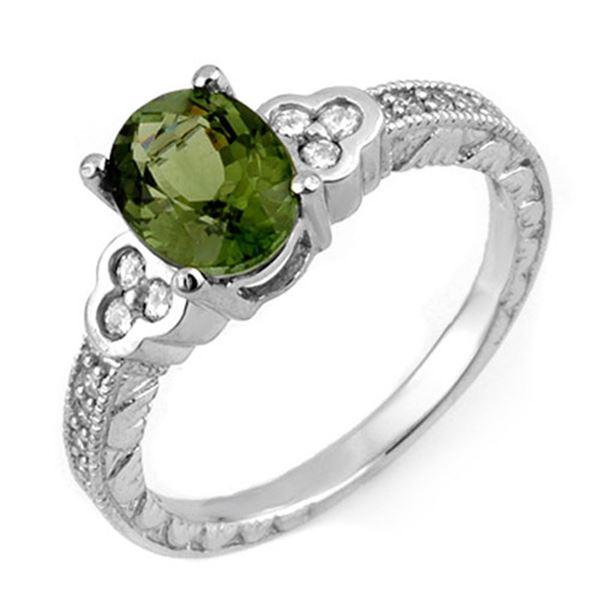 2.27 ctw Green Tourmaline & Diamond Ring 14k White Gold - REF-53M5G