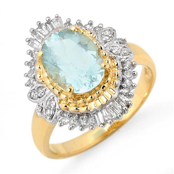 2.48 ctw Aquamarine & Diamond Ring 14k Yellow Gold - REF-85G5W
