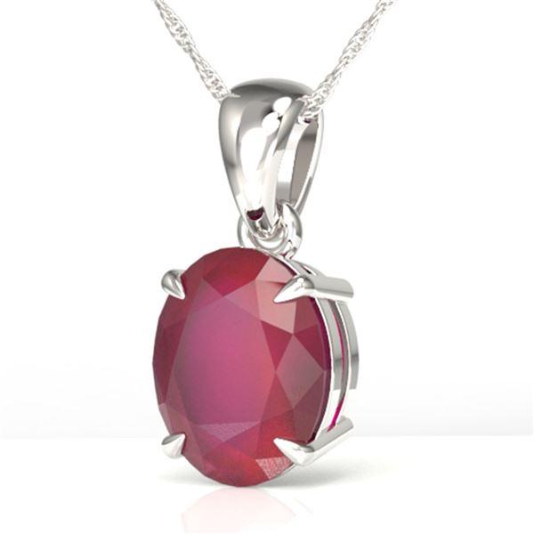 3.50 ctw Ruby Designer Necklace 18k White Gold - REF-38A2N