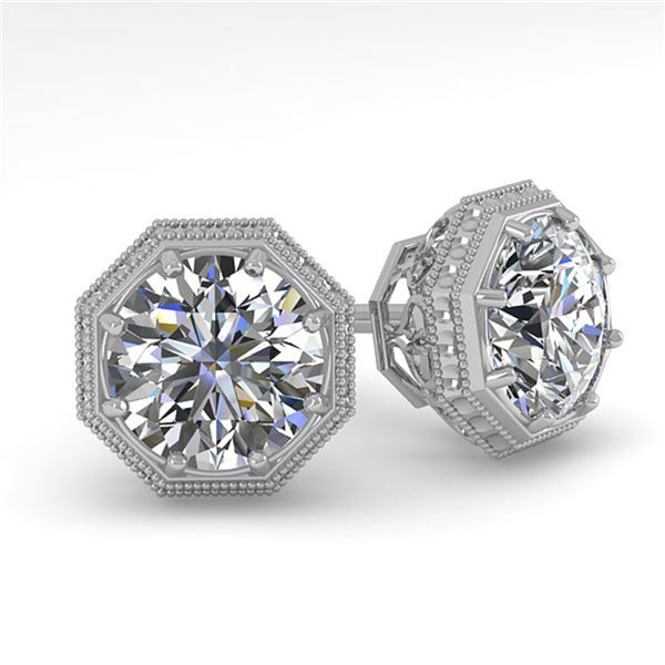 0.50 ctw VS/SI Diamond Stud Earrings Art Deco 18k White Gold - REF-53M5G