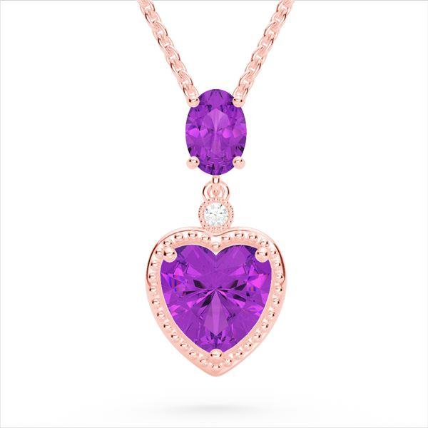 4 ctw Amethyst & VS/SI Diamond Designer Heart Necklace 10k Rose Gold - REF-21F3M