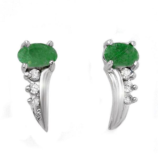 0.60 ctw Emerald & Diamond Earrings 10k White Gold - REF-12W3H