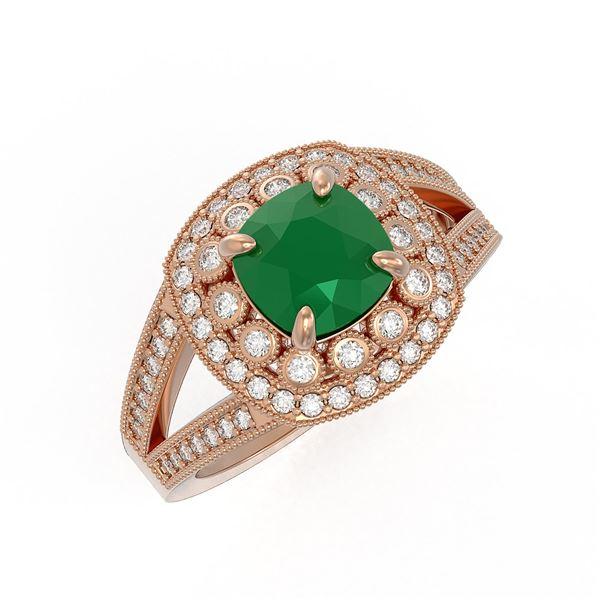 2.69 ctw Certified Emerald & Diamond Victorian Ring 14K Rose Gold - REF-104F9M