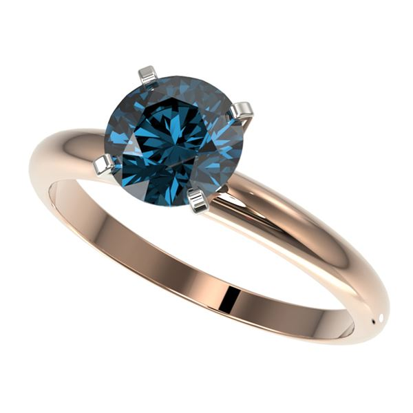 1.55 ctw Certified Intense Blue Diamond Engagment Ring 10k Rose Gold - REF-147A3N
