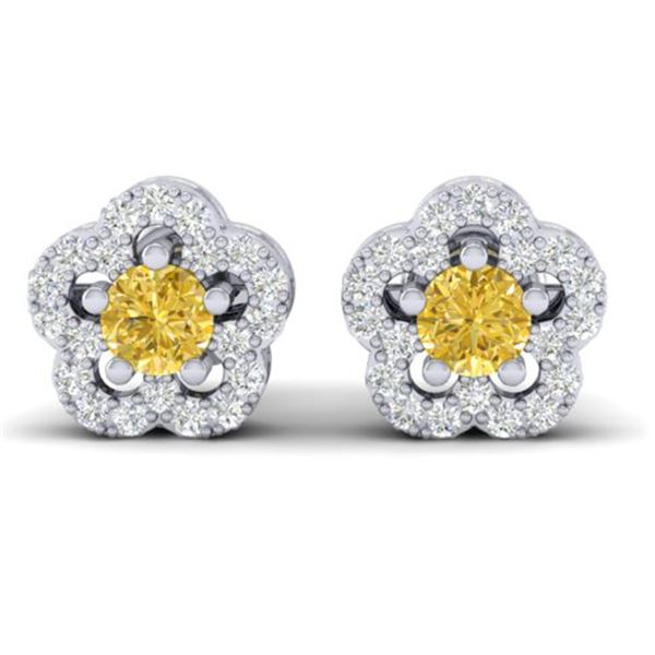 0.65 ctw Citrine & Micro Pave VS/SI Diamond Earrings 10k White Gold - REF-25A3N