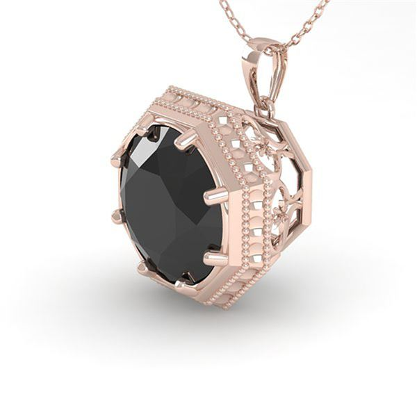 1.50 ctw Black Certified Diamond Necklace Art Deco 18k Rose Gold - REF-39Y5X
