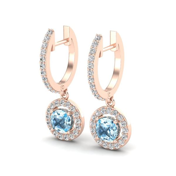 1.75 ctw Sky Topaz & Micro Pave VS/SI Diamond Earrings 14k Rose Gold - REF-55W3H