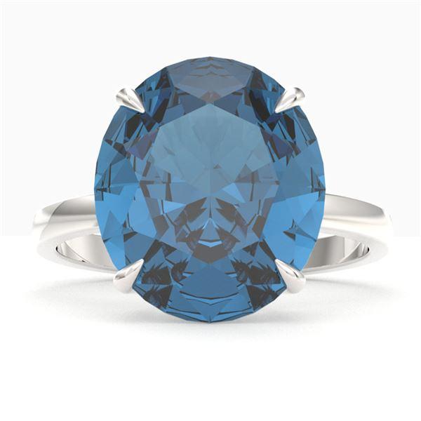 9 ctw London Blue Topaz Designer Engagment Ring 18k White Gold - REF-46Y4X