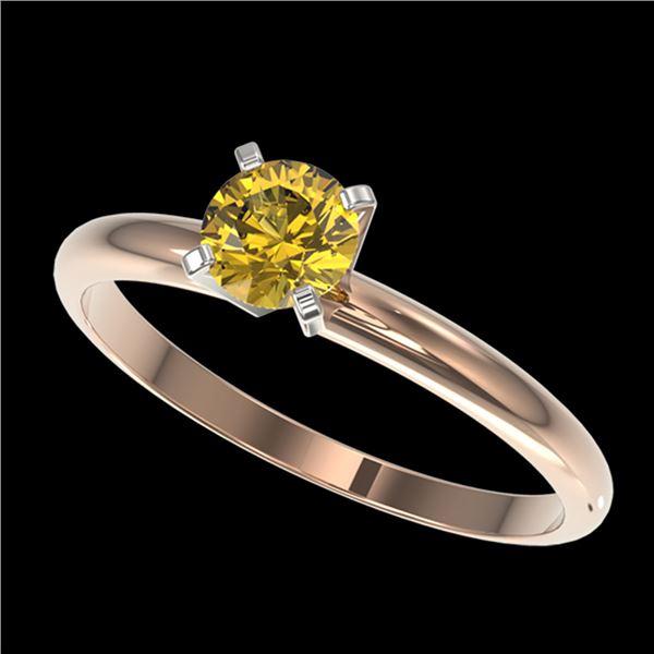 0.50 ctw Certified Intense Yellow Diamond Engagment Ring 10k Rose Gold - REF-47H9R